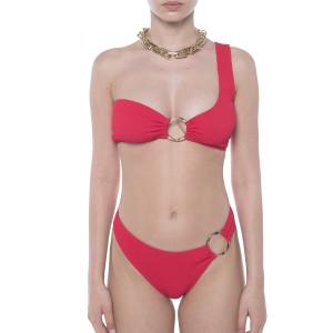 Costum baie 2 piese Red Waves, sutien pe un umar cu inel, slip brazilian cu inel