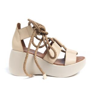 Sandale platforma Beige, prindere in snururi, piele naturala 100%