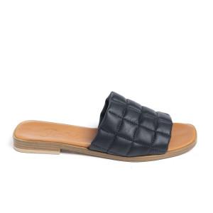 Papuci cusaturi geometrice Black, piele naturala 100%