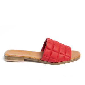 Papuci cusaturi geometrice Red, piele naturala 100%