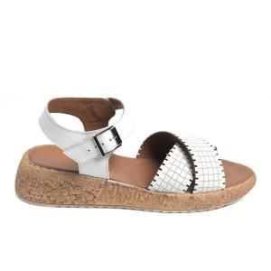 Sandale plaja barete White, piele naturala 100%