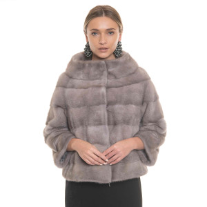 Vizon natural fur jacket, 50cm, special powdered grey color