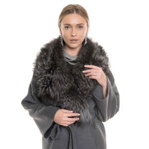 Palton dublu casmir si lana cu guler amplu de vulpe silver gray, gri