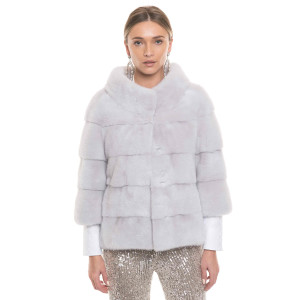 Jacheta blana naturala vizon, 60cm, culoare speciala crystal gray