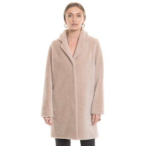 Australian lamb coat, wool fur, beige, 90 cm
