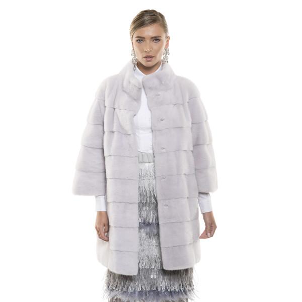 Haină de blană naturală de vizon, culoare speciala roz argintiu pudrat, 82 cm