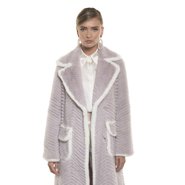 Haină de blană naturală de vizon, revere largi, buzunare aplicate,culoare speciala, gri roz/alb, 120 cm
