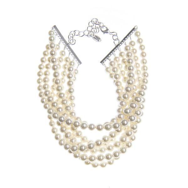 Necklace Leah Pearls Swarovski Cream Pearl