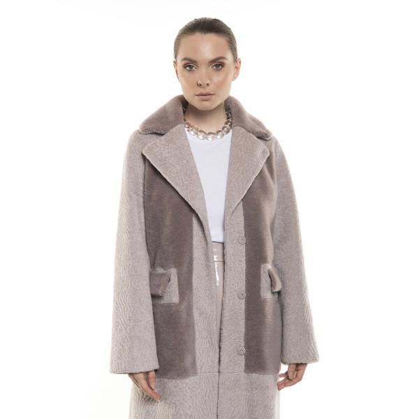 Palton dama de blană naturală de miel Merinos si lână, roz pudrat, 108 cm