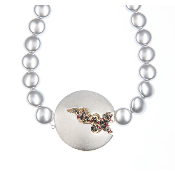 Colier Selena perle Swarovski Grey Pearl, cristale Swarovski