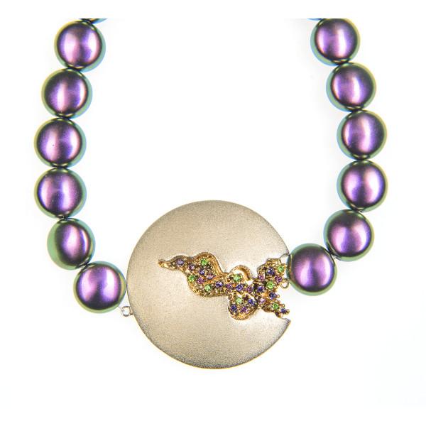 Colier Selena perle Swarovski Purple Pearl, cristale Swarovski