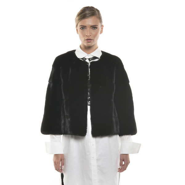 Jachetă de blană naturală de vizon/ nurcă, neagră, 50 cm
