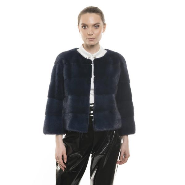 Jachetă de blană naturală de vizon, Blue Royal, 52 cm