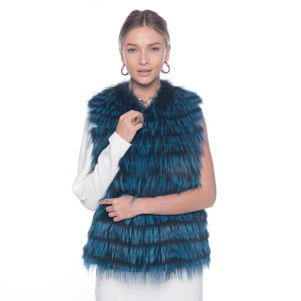 Vesta blana naturala vulpe, albastru electric, 2in1, 60cm