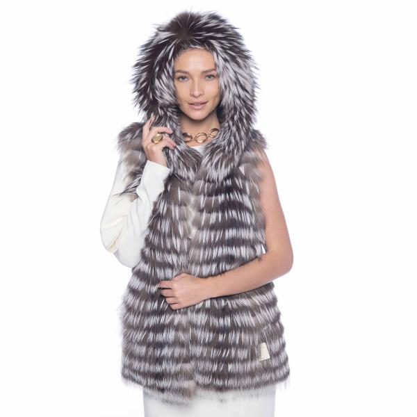 Vesta cu gluga ampla din blana naturala vulpe, gri argintiu, 60cm