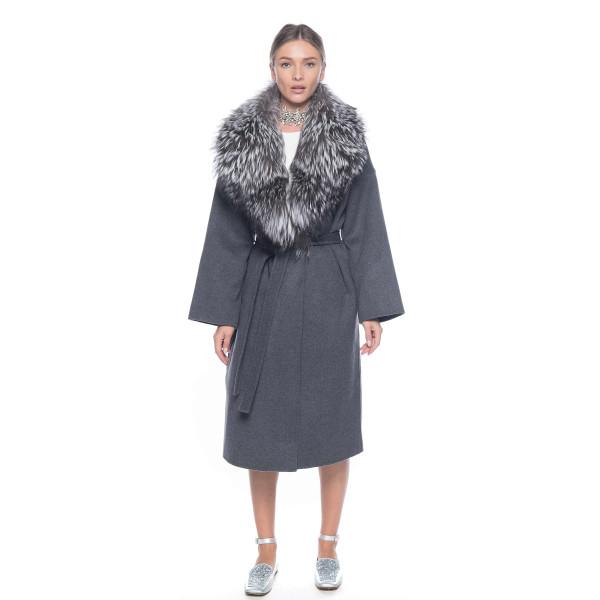 Palton casmir gri antracit cu guler amplu detasabil de vulpe argintie