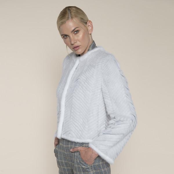 Jacheta blana naturala vizon pe suport lana, gri deschis, 50cm