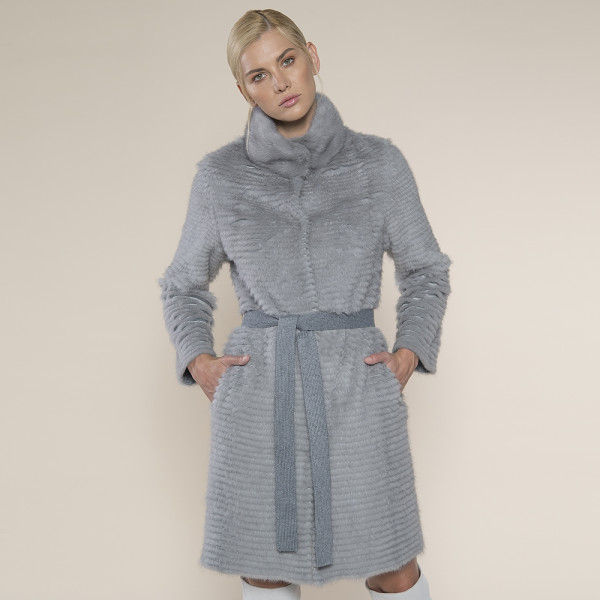 Haina blana naturala vizon/suport lana 100%, gri inchis, 90cm