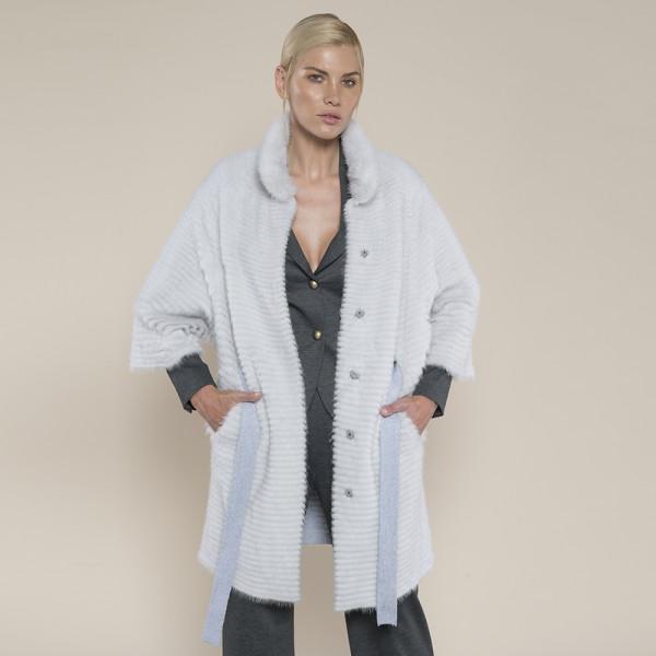 Haina blana naturala vizon/suport lana 100%, cordon, gri deschis, 90cm