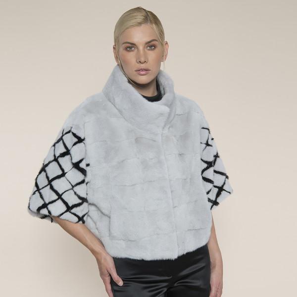 Jacheta blana vizon gri deschis, maneci romburi, 50cm