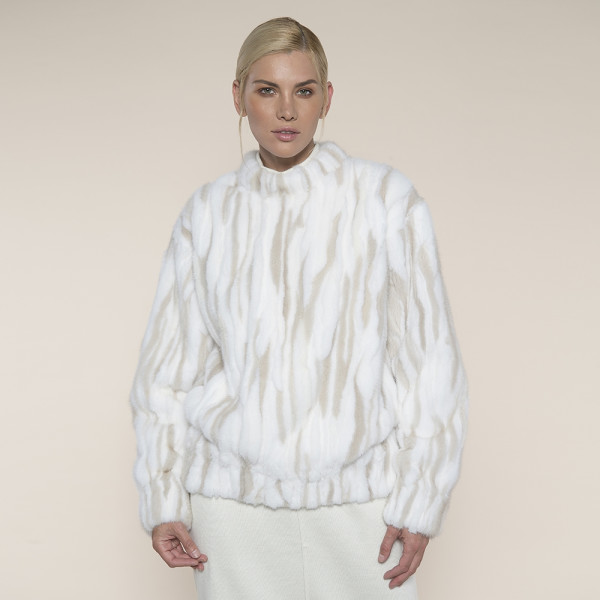 Bluzon blana naturala vizon, alb cu insertii Pearl, 60cm