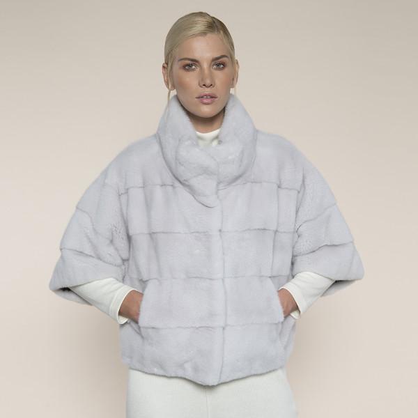 Haina blana vizon maneci 3/4, light gray, 50cm