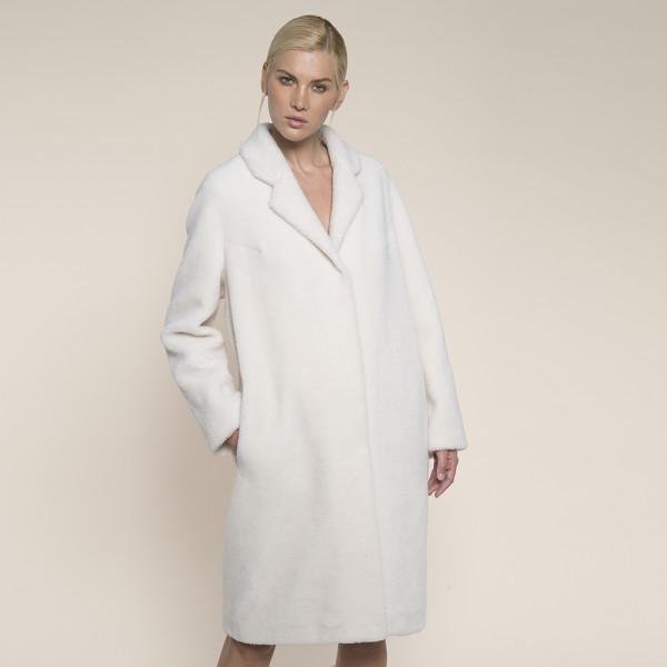 Palton blana naturala miel Australian, rever scurt, off-white, 107cm