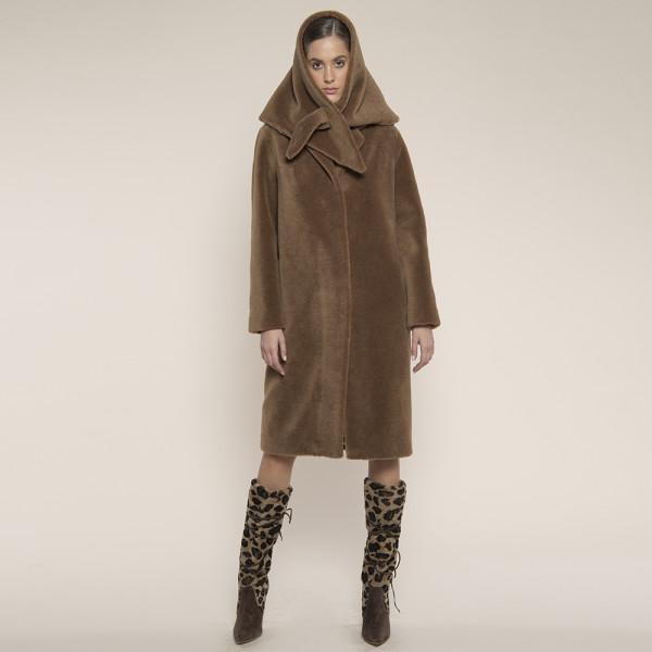 Palton blana naturala miel Australian tip lana, cu revere scurte, camel, 107cm