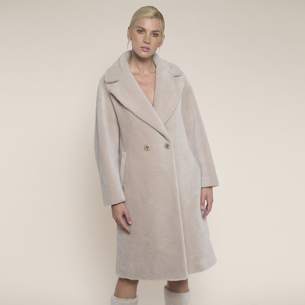 Palton blana naturala miel Australian, revere largi, bej, 107cm