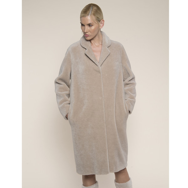 Palton blana naturala miel Australian, rever scurt, bej, 107cm
