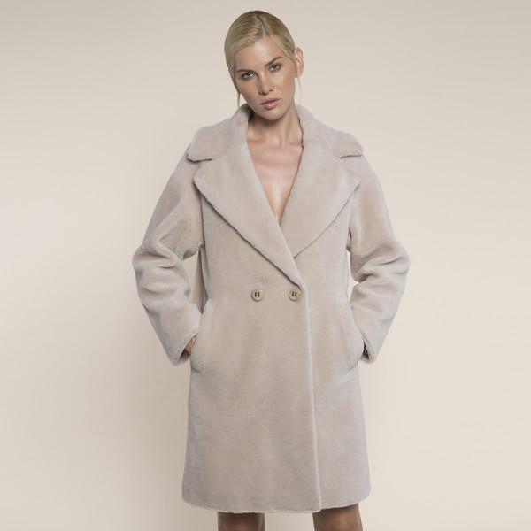Palton blana naturala miel Australian bej, revere largi, 90cm