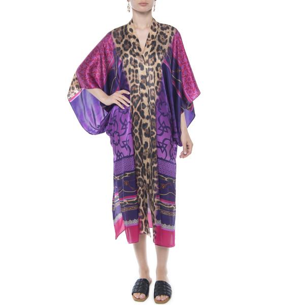 Kimono deschis, matase 100%, imprimeu Cyclam Jewel