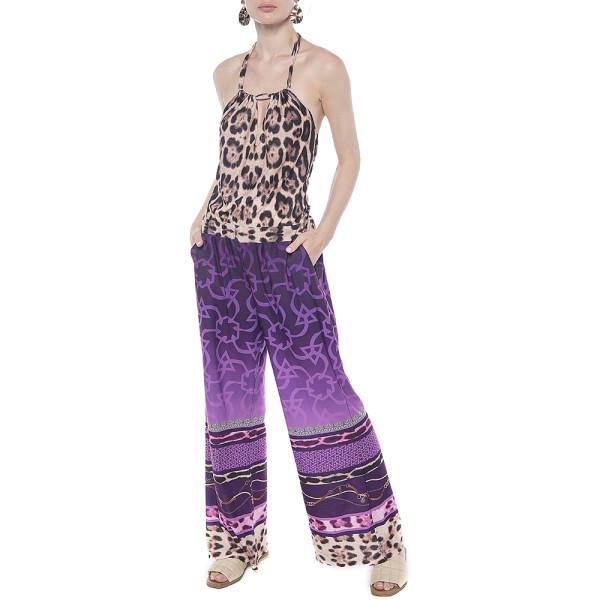 Salopeta Cyclam Jewel cu bordura animal print, buzunare si spate gol, tricot