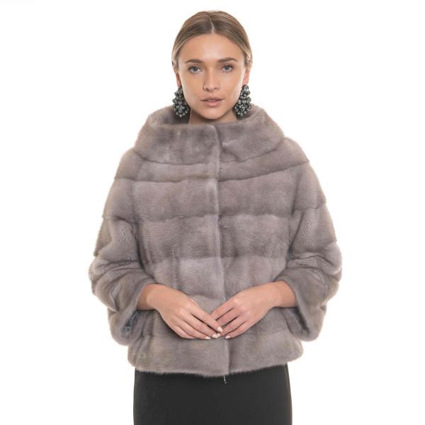 Vizon natural fur jacket, 50cm, special powdered grey color