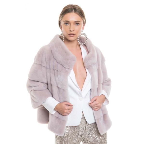 Jacheta blana naturala 60cm, culoare speciala nude