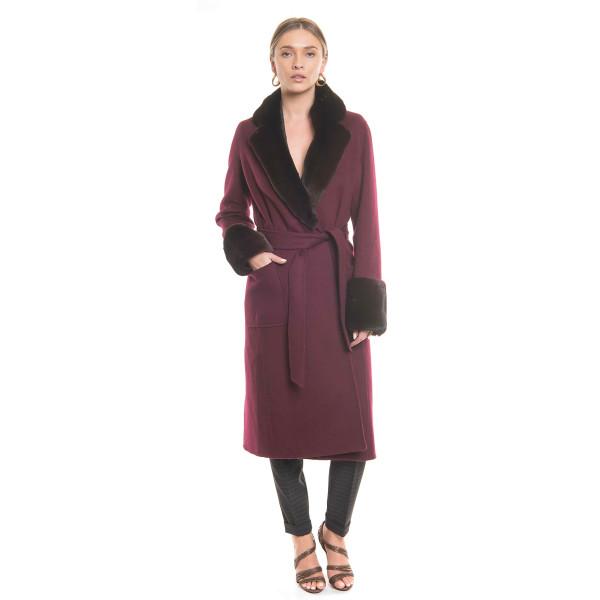 Palton dublu casmir si lana cu guler si mansete vizon, culoare bordeaux