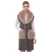 Vesta lunga de casmir cu guler  si buzunare de blana naturala vulpe, 90cm