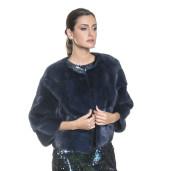Jacheta blana naturala de vizon/nurca, 52 cm, culoare albastru royal