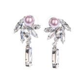 Cercei Lila perle Swarovski Powder Rose, cristale Swarovski