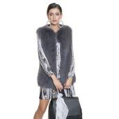 Vesta de blana naturala de vulpe gri 65 de cm lungime