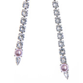 Colier Amma perle Swarovski Powder Rose, cristale Swarovski