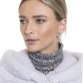 Haina blana naturala vizon cu gluga, 65 cm, gri argintiu