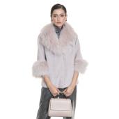 Jacheta blana tip lana, din miel Merinos cu guler de Raton Finlandez, roz pudrat