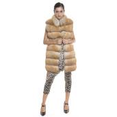 Vesta blana naturala vulpe, culoare auriu roscat, 80 cm
