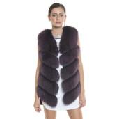 Vesta blana naturala vulpe, culoare bordo, 70cm