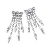 Cercei Maddison perle Swarovski Grey, cristale Swarovski