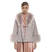 Jachetă  blană naturală de miel Merinos, blana tip lână, cu guler de raton, roz pudrat, 64 cm