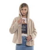 Jachetă bomber din blană naturală de miel Pearl Australian, blana tip lână, bej pastel, 62 cm