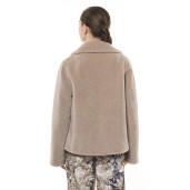 Jachetă  blană naturală de miel Merinos, blana tip lână, bej pastel, 62 cm