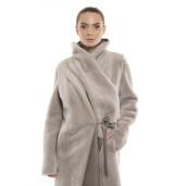 Palton de blană naturală de miel, reversibilă, bej pastel